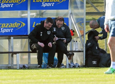 Keane and O'Neill at Malahide yesterday.