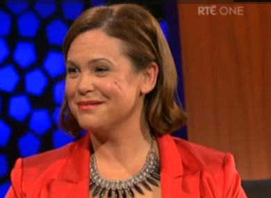 Mary Lou McDonald on the Late Late Show this evening.