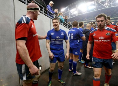 Paul O'Connell and Brian O'Driscoll share a joke after last night's win for Leinster.