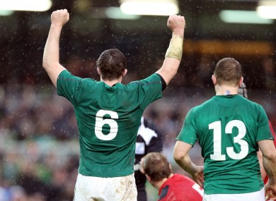Peter O'Mahony (left) celebrates the recent win over Wales.