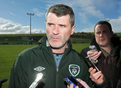 Keane speaking to the media in Malahide today.
