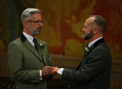 Actor Andrew Wale (left) and guesthouse owner Neil Allard during their wedding