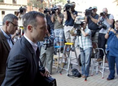 Oscar Pistorius arriving in court in Pretoria today.