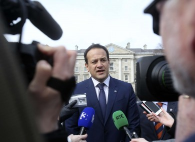 Leo Varadkar speaking to the media in Trinity College Dublin this morning.