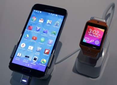 Samsung's Galaxy S5 and Galaxy Gear 2 smartwatch, which was unveiled in February.