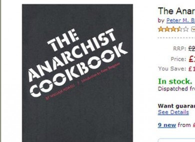 FILE: Screen grab taken from Amazon's website of The Anarchist Cookbook
