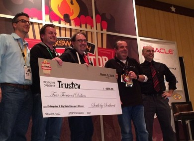 The Trustev team receiving their cash prize at SXSW yesterday.