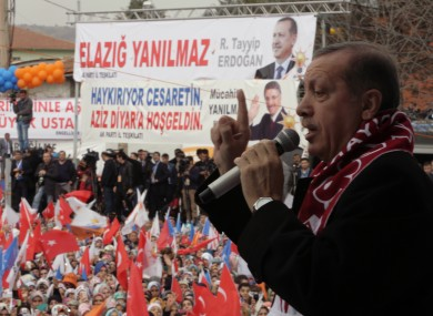 Turkish PM Recep Tayyip Erdogan addresses a rally of his Justice and Development Party in Elazig, Turkey,