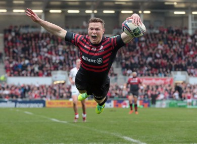 Chris Ashton splashes down for a try against Ulster.