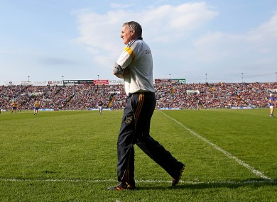 Eamon O'Shea walking the sidelines during yesterday's game in Limerick.