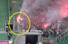 The horrifying moment when tear gas engulfed a flare-waving football fan