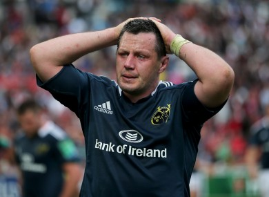James Coughlan shows his dismay at the final whistle in Marseille.