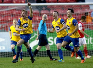 Jon Mountney of Dundalk celebrates scoring.