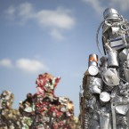 The 'Trash People' – an art exhibit of life-size figures made from 20 tons of recycled iron, glass, computer parts, cans and industrial waste – stands on Israel''s Hiriya landfill near Tel Aviv.<span class=