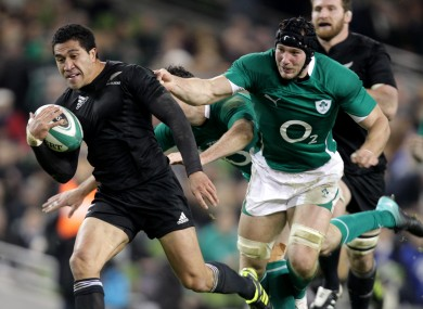 Mils Muliaina in action against Ireland for the All Blacks.