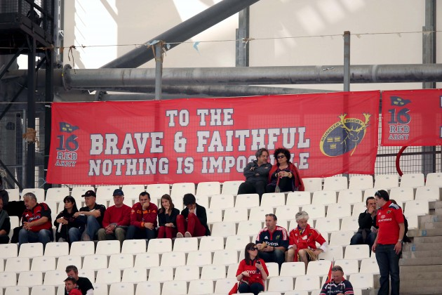 Munster supporters banner in the ground