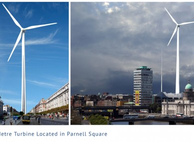 Artist's impression of a wind turbine in Parnell Square