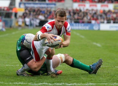 Paul Marshall stretches over to open the scoring at Ravenhill.