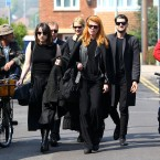 Mourners arrive at St Mary Magdalene and St Lawrence Church in Davington, near Faversham, Kent<span class=