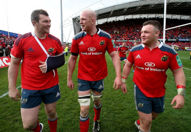 Peter O'Mahony, Paul O'Connell and Dave Kilcoyne celebrate