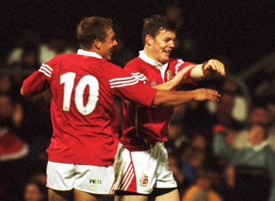 Jonny Wilkinson and Brian O'Driscoll celebrate a Lions try in 2001.