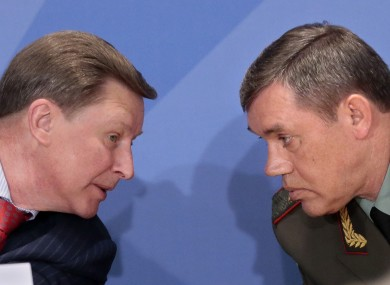 Valery Gerasimov, the chief of the Russian military's General Staff (r) pictured with the Kremlin's chief of staff Sergei Ivanov