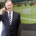 Enda was delighted to have a go of a phone in one of the offices...<span class=