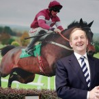 ...and delighted to stand in front of a picture of a horse and jockey.<span class=