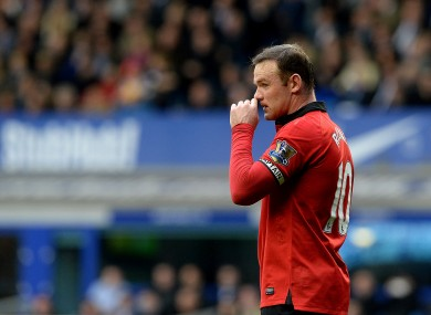 Wayne Rooney at Goodison Park yesterday.