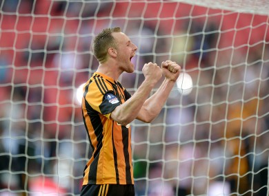 Hull City's David Meyler celebrates after the final whistle.