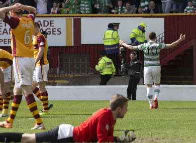 Anthony Stokes turns to receive the acclaim of the Celtic faithful.