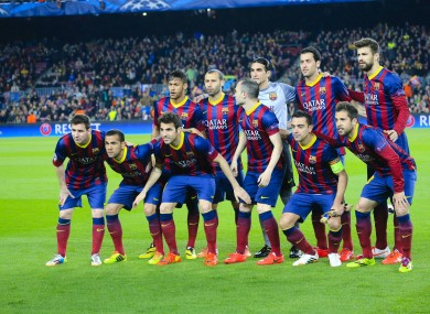 A team photo of Barcelona prior to last night's Champions League game.