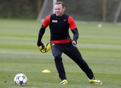 Rooney training at Carrington this morning.