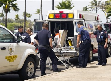 The 16-year-old is taken away on a stretcher after his flight.