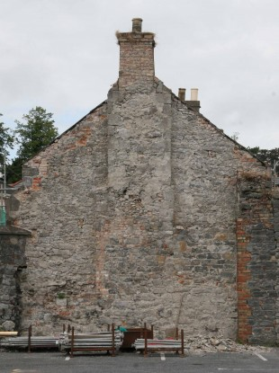 The gable wall of one of the houses