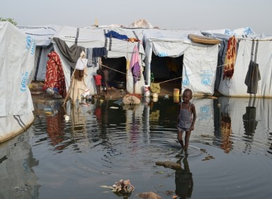 Young child in flooded camp in South Sudan.