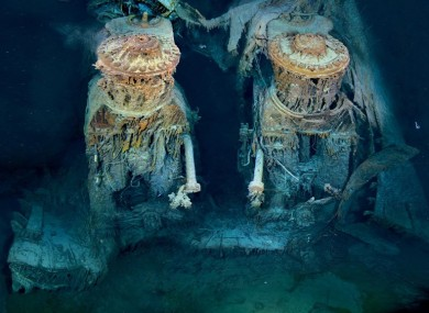 The Titanic engines under the sea.