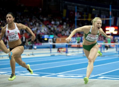 Too close: O'Rourke comes in fourth behind winner Nevin Yanit at last year's European Indoor 60 metre final.