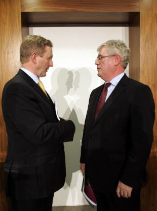 Taoiseach and Fine Gael leader Enda Kenny with Tanaiste Eamon Gilmore.