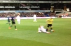 Lewis Holtby nailed Howard Webb with a crunching tackle in Ledley King's testimonial