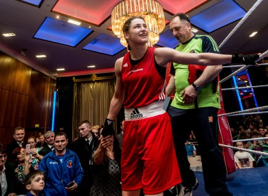 Katie Taylor pictured after winning the first of her three bouts.