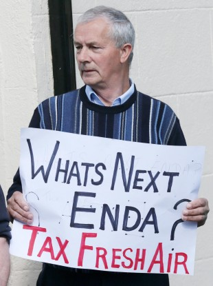 Christy Doran from Mullingar protests over the water charges last month.