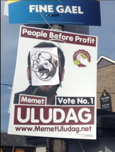 Local election candidate born in Turkey has posters defaced with pig imagery for a second time