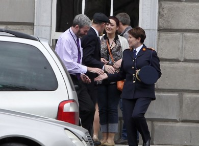 Interim Garda Commissioner Noirin O'Sullivan meets John Wilson outside Leinster House