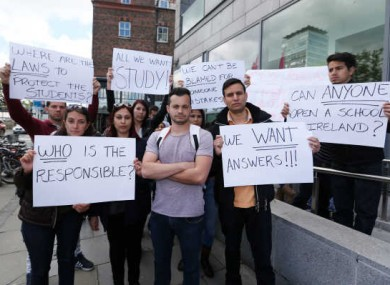 Protesters from different language schools outside the Irish Naturalisation and Immigration Service Offices in Dublin
