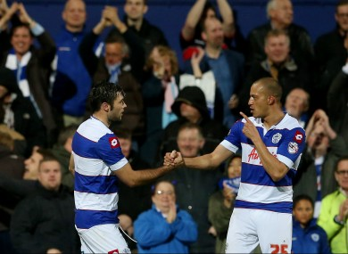 Charlie Austin of QPR celebrates with Bobby Zamora.