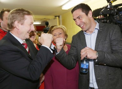 The Taoiseach and Kenny Egan square-up as Frances Fitzgerald looks on just over an hour before she was appointed Justice Minister