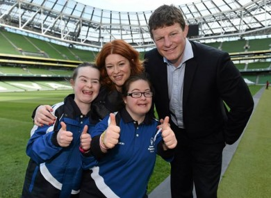 RTÉ presenter Blathnaid Ni Chofaigh and former Irish and Leinster player Malcolm O'Kelly with Orla Kearns and Kim O'Kelly from Naas at the launch of Leinster's Special Olympics team in May.