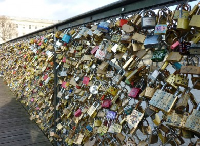 Love locks on the Pont des Arts.