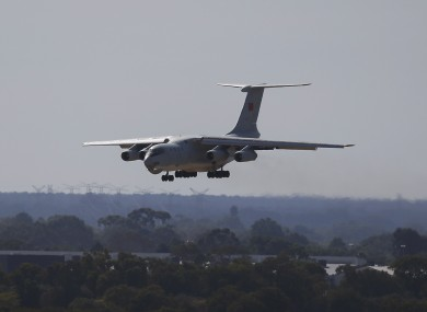 Chinese Ilyushin IL-76 aircraft after returning from ongoing search operations for missing Malaysia Airlines Flight 370 in Perth